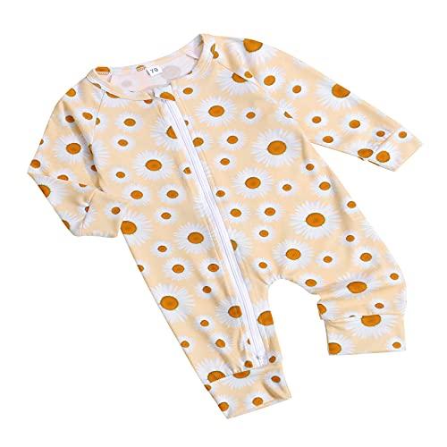 Paxlahby Mamelucos de primavera para bebé, con estampado solar, manga larga, con cremallera inclinada, para niños, niñas y niños, albaricoque, 24 meses