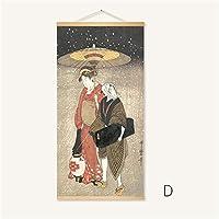 スクロール壁ぶら下げ絵、日本の浮世絵ポスターインテリアデコレーション、ベッドルームのための、リビングルーム,D,50*100cm