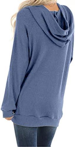YEBIRAL Damen Sweatshirt Pullover Cardigan Frauen Langarm Einfarbig Tops Bluse Shirt Asymmetrisch Rollkragen Tunika Hemd Kn/öpfe Oberteile Strickpullove Pulli Herbst Winter Warme Sweater