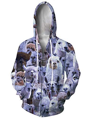 ALISISTER Unisex Hoodies Reißverschluss 3D Creative Weiß Alpaka Digital Bedrucktes Kapuzenjacke Langarm Kapuzenpullover Jacke Pullover mit Taschen M