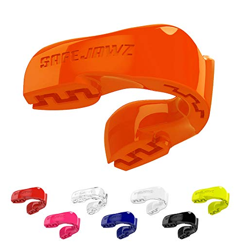 SAFEJAWZ Mouthguard Slim Fit, Adults and Junior Mouth Guard with Case for Boxing, Basketball, Lacrosse, Football, MMA, Martial Arts, Hockey and All Contact Sports (Orange, Youth (Up to 11 yrs))
