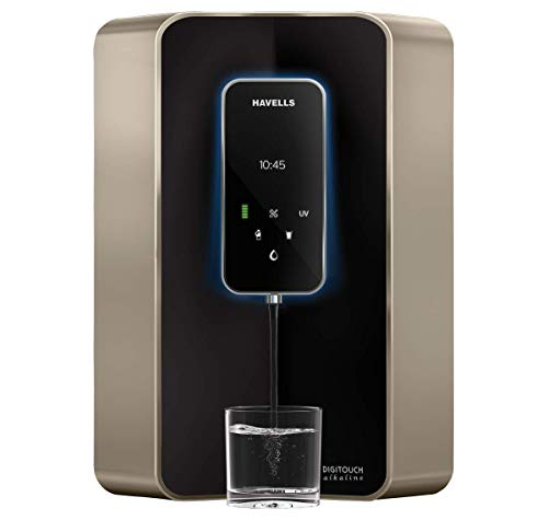 Havells Digitouch Alkaline 100% RO+UV, 6 Litre Water Purifier (Champagne & Black)