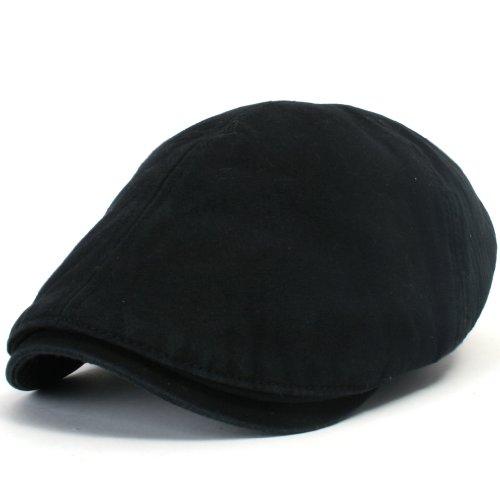 ililily Cotton Washing Flat Cap Cabbie Hut Gatsby Ivy Irish Hunting Newsboy (XL, XL-Black)