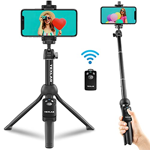 Texlar Selfie Stick Tripod TS48 Pro with Remote - Extendable to 48 Inches - for iPhone 7, 8, X, XR, 11, 12, Pro, Max, Plus, SE, Android Phone, Smartphone, Small Mini Cellphone Stand