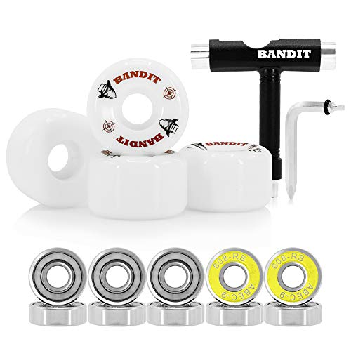 Bandit Skate Co. Skateboard Wheels 52mm, ABEC 9 Skateboard Bearings, Skateboard Tool
