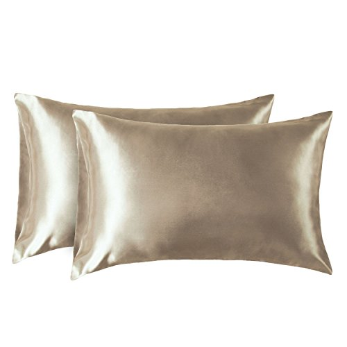 Bedsure Satin Kissenbezug Gold 40x80 Doppelpack, seidig Kopfkissenbezug 40 x 80 cm Haar- und Hautpflege, Kissenbezüge Kissenhülle in 2er Set, Silky Pillow case for Hair
