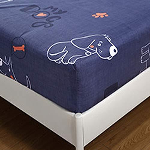 Spannbettlaken für Kinder, Treer Spannbetttuch 100% Polyester Weiche Rutschfestem Atmungsaktivem Bettlaken 30cm Tiefe Matratzenschoner Tier Drucken Bettw Sche (Hunde,180x200x30cm)