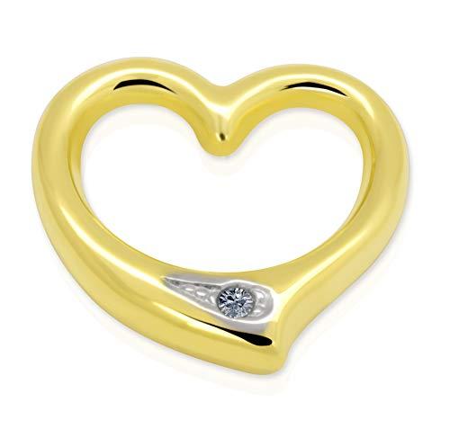 Anhänger Herz Gold 333 Diamant 0,005 ct Swinging Heart 8 Karat Gelbgold Brillant Kettenanhänger Ketten Goldschmuck