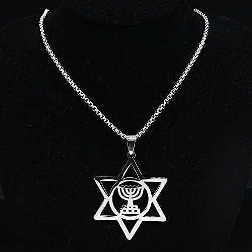 QNONAQ Acero Inoxidable joyería Nostalgia Menorah Religiosa Estrella David Judío Magen Judaica Hebreo Israel Lámpara de fe Hanukkah Collar de Acero Inoxidable (Metal Color : 50cm Box SR)