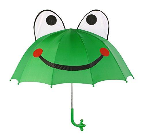 Kidorable Grüner Frosch-Regenschirm mit lustigem Froschbeingriff, ausklappbare Augen, großes Lächeln - Grn - Erwachsene