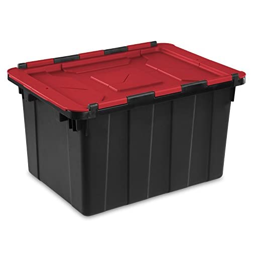 Sterilite 14649006 15 Gallon/57 Liter Industrial Tote, Black Lid & Base w/ Racer Red Latches, 6-Pack 4