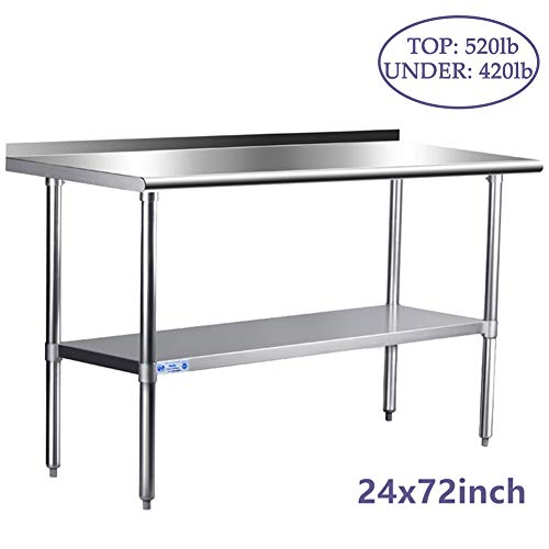 Stainless Steel Table for Prep & Work 24 x 72 Inches, NSF Commercial Heavy Duty Table with Undershelf and Backsplash for Restaurant, Home and Hotel