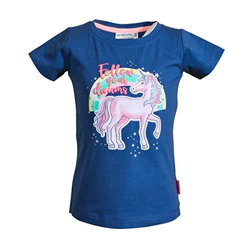 SALT AND PEPPER Mädchen Dreams Uni Einhorn T-Shirt, Ink Blue, 116/122