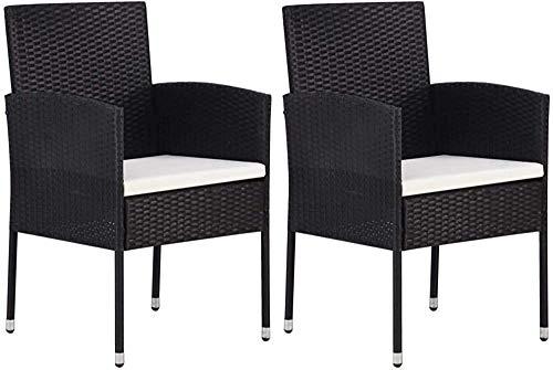 Moderne Mode einfach zwei geflochtenen Harz Gartenstühle und der Stahlrahmen 52 x 56 x 88 cm,Black