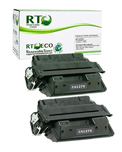 Renewable Toner Compatible Toner Cartridge High Yield Replacement for HP 27X C4127X LaserJet 4000 4050 (Black, 2-Pack)