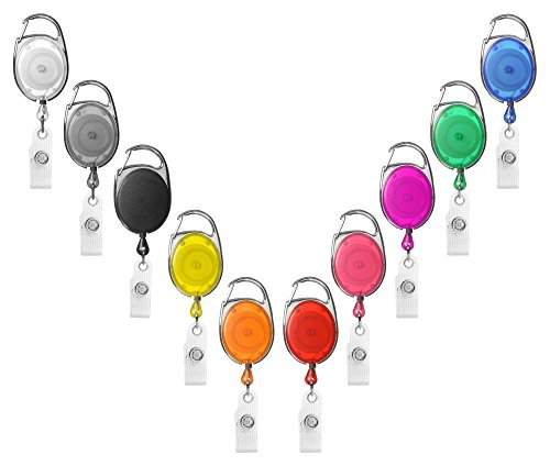1 x Karteo® Ausweisjojo grau | Ausweis Jojo oval | Vinylstrap gewerbeverstärkt und Aufrollmechanismus | für Ausweishüllen Kartenhüllen Ausweishalter Kartenhalter