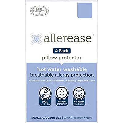 Aller-Ease Hot Water Washable Zippered, Standard/Queen-4 Pack Pillow Protectors White by American Textile Company