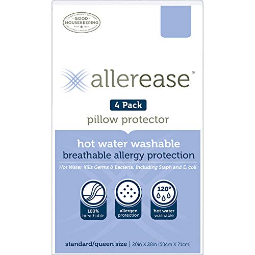 Aller-Ease Hot Water Washable Hypoallergenic Zippered Pillow Protectors, Allergist Recommended, Prevent Collection of Dust Mites and Other Allergens, Standard/Queen Sized, Pack of 4, 4 Pack, White
