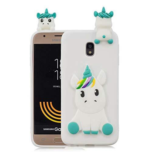 Samsung Galaxy J3 2017(SM-J330) Fanxwu TPU 3D Silikon Cartoon Einhorn Fall Ultra Weich Schutzhülle Flexibel Schutz Rückenschale Anti-Kratzer Protective Handyhülle - Weiß