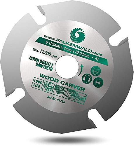 FALKENWALD ® Flex Holz Trennscheibe Premium Winkelschleifer Holz Trennscheibe mit 4 Zähnen Sägeblatt für Winkelschleifer 125 mm