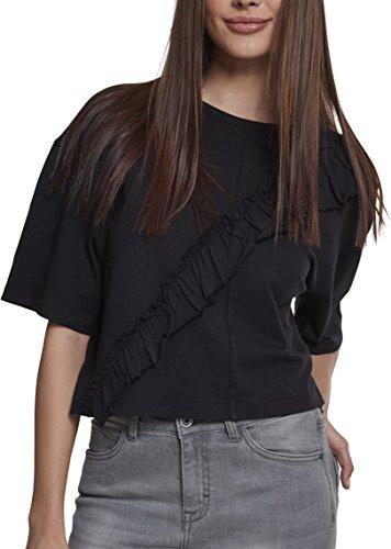 Urban Classics Ladies Short Oversize Volant tee Camiseta, Negro (Black 00007), L para Mujer