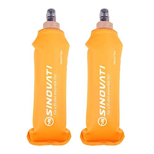 SINOVATI® Botellas de agua plegables de TPU, botella de agua sin BPA, botella deportiva para mochila de hidratación, bicicleta, senderismo, correr, camping y escalada (naranja, 500 ml x 2)