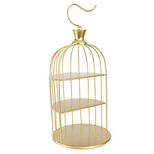 YARNOW Bird Cage Shaped Cake Stands,1PC 3-Tier European Style Iron Cupcake Stands Dessert Display Holder for Wedding Event Birthday Party(Golden)