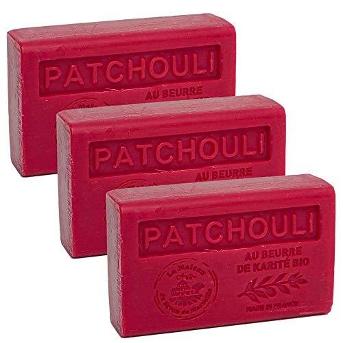 Maison du Savon - 3er-Set Seifen mit Sheabutter, Patchouli, 3x125 g