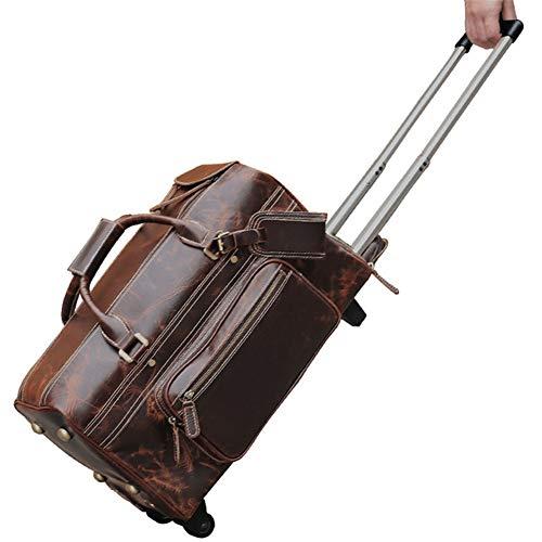 20LRetro trolley reistas, Bearing Rubber Wheel Lederen Bagage reizen duffle tas weekend overnachting tas rollende koffer