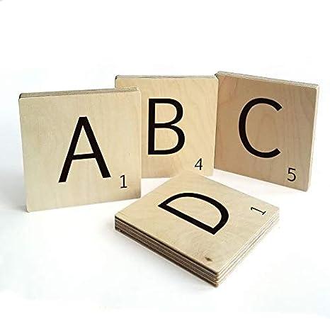 K/&L Wall Art Holzbuchstaben 3D Buchstabe N 10cm Scrabble Deko Buchstaben aus Holz Tischdeko freistehend