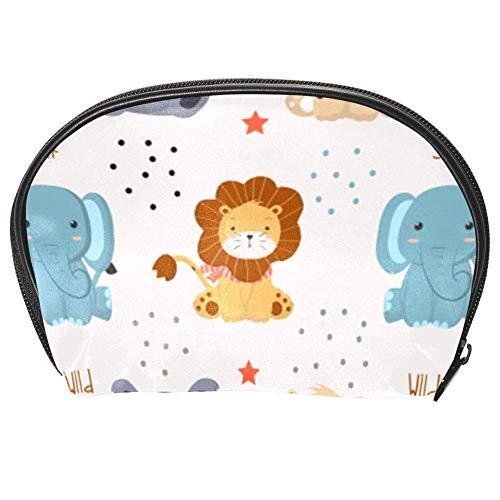 TIZORAX Sac à cosmétiques pour femme et fille Motif éléphant lion et chat