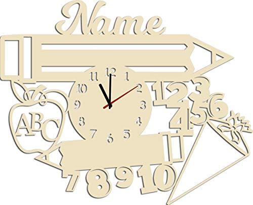 Schlummerlicht24 Licht & Deko Geschenk zur Einschulung Lernuhr Uhr mit Namen personalisiert I Holz Kinder Geschenke Junge Mädchen