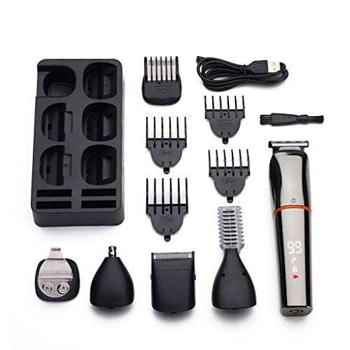 Guilin Hair Shaver 6 in 1 Electric Hair Clippers for Men Nose Beard Trimmer Cordless USB Razor Kit Silver