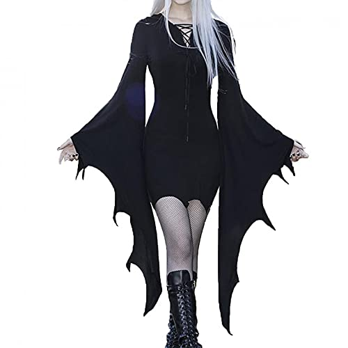 Damen Mittelalter Kleid mit Trompetenärmel Gebunden Taille Gothic Retro Midi Kleid Renaissance Cosplay Kostüm Kleid Karneval Halloween Party (01# Schwarz, M)