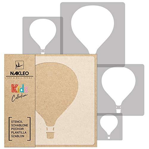 5 Stück wiederverwendbare Kunststoff-Schablonen // BALLON - LUFTBALLONS // 34x34cm bis 9x9cm // Kinderzimmer-Dekorarion // Kinderzimmer-Vorlage