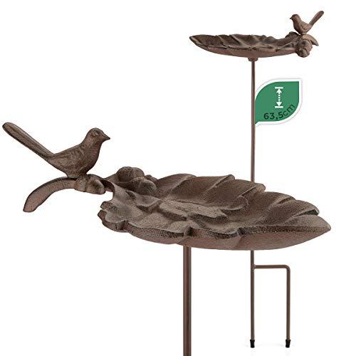 WILDLIFE FRIEND Bebedero para pájaros en varilla, baño para pájaros en forma de hoja, resistente a la intemperie, comedero, comedero para pájaros, bebedero de agua de pie para jardín.
