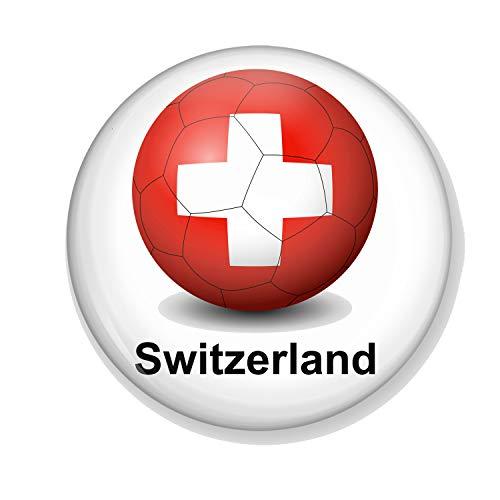 Gifts & Gadgets Co. Magnet-Flaschenöffner, Motiv Schweizflagge auf Fußball, 58 mm Durchmesser