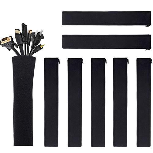 JOTO 8 Manguitos de Cables, Organizador Cable Sleeve con Cremallera, Sujetacables de Neopreno Flexible y Cortable, Gestión Blanda de Cables para Mesa TV Ordenador Oficina Hogar Teatro Cine Casa -Negro