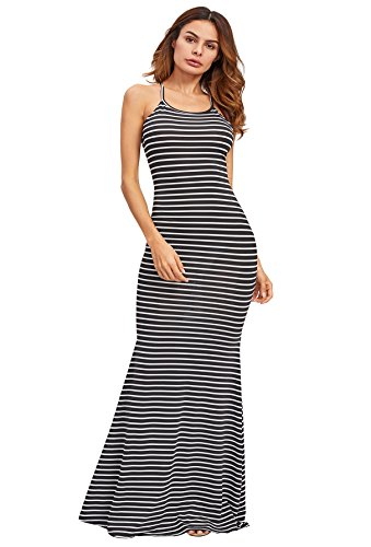 Fashion Shopping SheIn Women's Strappy Backless Summer Evening Party Maxi Dress