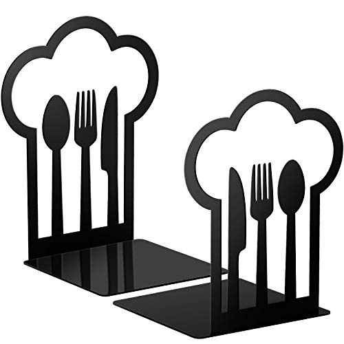 Cookbook Bookends Fork Knife Spoon Decorative Kitchen Metal Book Ends Cookbook Storage Books Stoppers Book Holder Home Decorative Accessories for Shelves Kitchen Book Holders (Black,1 Pair)