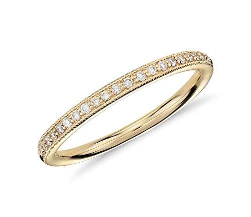 Anello a mezza veretta in oro giallo 18K, stile classico, con pavé a riviera di diamanti in taglio rotondo da 0,15 ct e Oro giallo, 56 (17.8), cod. CJLR0061.8