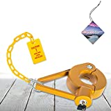 Jayour Heavy-Duty - King Pin Lock | Strong Tough Steel | Fifth Wheel Trailer Lock | Anti-Theft for RVs, Trailers, etc | with Bright Caution Tag Deterrent and Air Freshener
