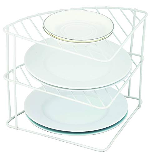 FiNeWaY 3 Tier Corner Kitchen Cupboard Storage Rack Organiser for Dishes Plates Bowls Mugs Drying Drainer Rack – Keep Your Counter Top Organised Tidy Shelves (White)