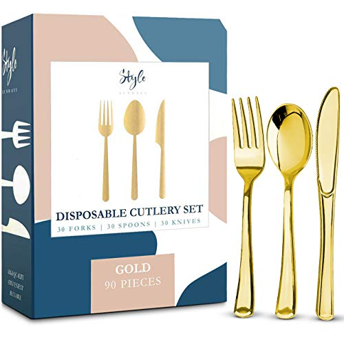 Gold Plastic Silverware Party Bulk Utensils Set