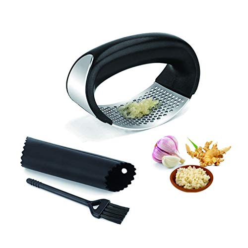Garlic Press Rocker Stainless Steel Garlic Press Tool with Cleaning Brush and Silicone Garlic Peeler Easy Operate and Clean Kitchen Gadget 3 Pcs By Lechay