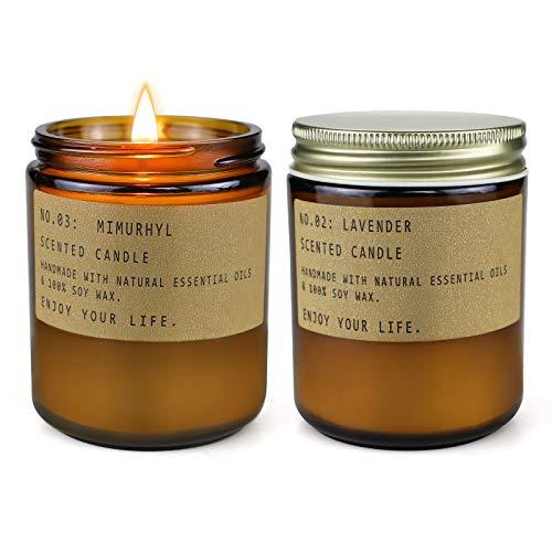 Duftkerzen Geschenkset, 7,2 Unzen Lange Brennende Sojakerzen,NatüRliche Bio-Kerzen Zur Entspannung Beim Stressabbau, Geschenkset FüR Frauen, Lavendel & Bernsteinmoos, GroßE 2er-Packung (Amber moss)
