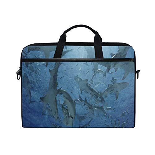 SLHFPX Laptop Bag Underwater World Funny Shark 14' 15' Laptop Case Notebook Briefcase Tablet Handbag Sleeve Computer Backpack with Shoulder Strap Handle for Men Women Travel Business School