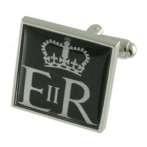 Select Gifts Royal Cypher Boutons de manchette pour homme en argent sterling 925 massif Boutons de manchette + Message Message gravé personnalisé Boît