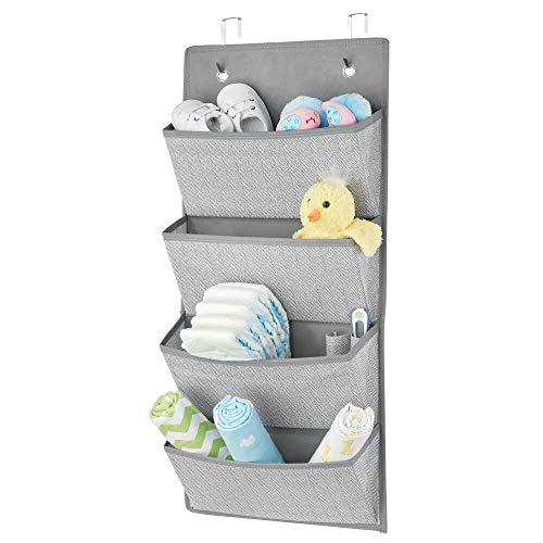 mDesign Organizador colgante con 4 bolsillos grandes – Sistema de almacenamiento para habitación infantil – Estantes colgantes para zapatos, accesorios y ropa – gris