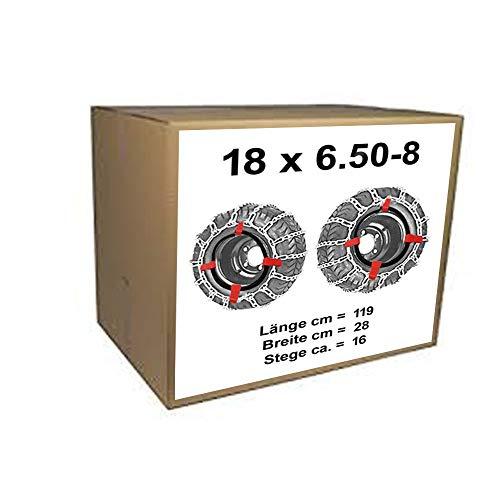 18x6.50-8 Schneeketten + Spanner für Rasentraktor Aufsitzmäher 18 x 6.50-8